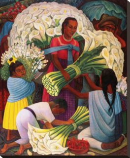 The Flower Vendor Stretched Canvas Print by Diego Rivera