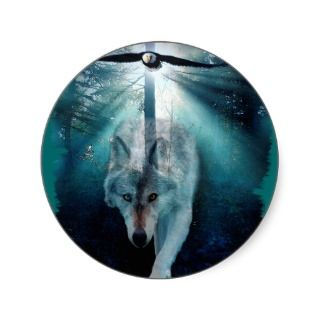 WOLF & EAGLE Wildlife Series Round Stickers