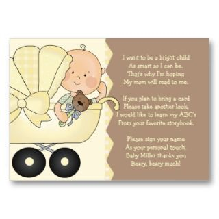 Baby Carriage   Book Insert Card Business Cards