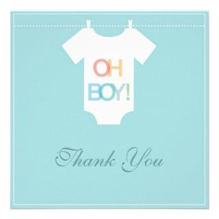 cute boy blue dress baby shower thank you cards
