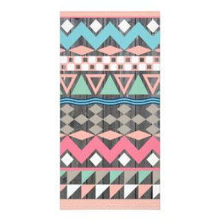 Andes Abstract Aztec Pattern Teal & Pink Pastel Photo Card Template