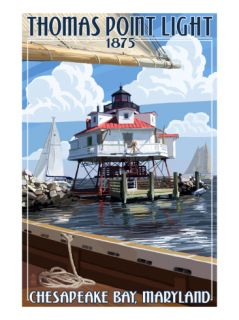 Thomas Point Light   Chesapeake Bay, Maryland Print by Lantern Press