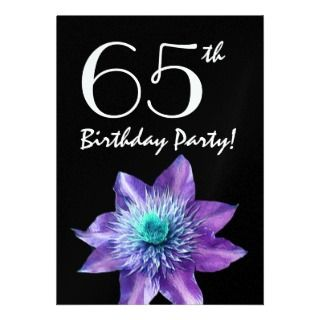 65th Birthday Party Template Purple Passion Flower Announcements