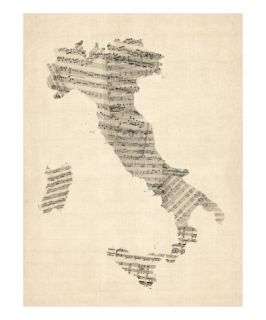 Old Sheet Music Map of Italy Map Premium Giclee Print by Michael Tompsett