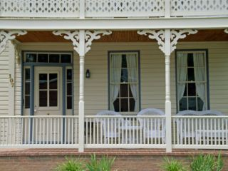 Close Up of Brick and Wood Verandah of a Building in St. Michaels, Chesapeake Bay, Maryland, USA Photographic Print by Hodson Jonathan