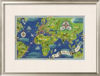 Air France Flight Routes And Illustrated World Map, c.1950 Framed Giclee Print