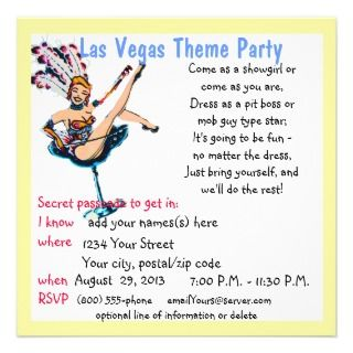 Las Vegas Casino Theme Parties Personalized Invitation