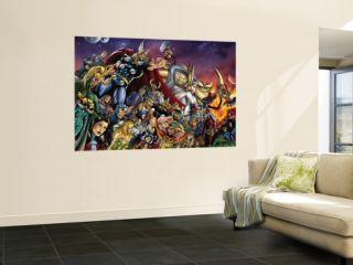 Thor #85 Group Thor, Hulk, Loki, Thanos, Beta Ray Bill and Odin Fighting Wall Mural by Andrea Di Vito