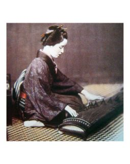 Japanese Woman Playing Koto Photographic Print by Felice Beato