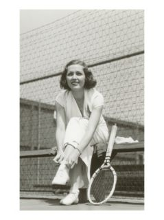 Woman Tennis Player Adjusting Stocking Premium Poster