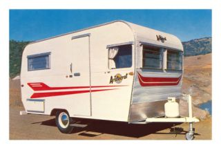 Small Travel Trailer, Retro Premium Poster