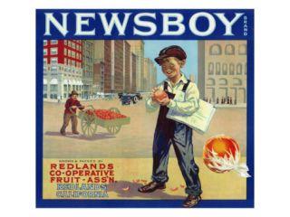 Redlands, California, Newsboy Brand Citrus Label Print