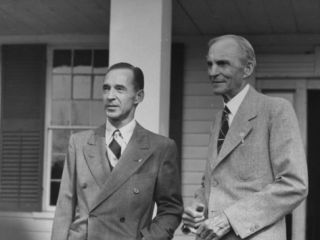 Henry Ford Talking with His Son Edsel Ford Premium Photographic Print