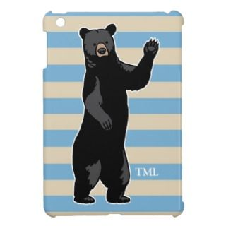 Waving Bear Says Hello, Striped, Monogrammed iPad Mini Case