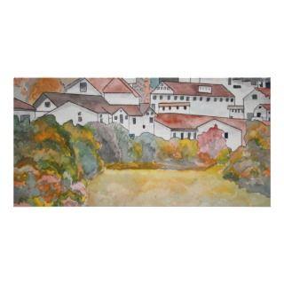 Pintura de la acuarela del paisaje de Toscana Ital Tarjetas