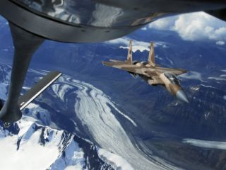 U.S. Air Force F 15C Eagle Positioning Itself Behind a KC 135R Stratotanker over Alaska Photographic Print