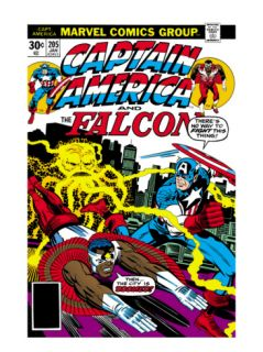 Captain America And The Falcon #205 Cover: Captain America, Falcon and Agron Fighting and Flying Print by Jack Kirby