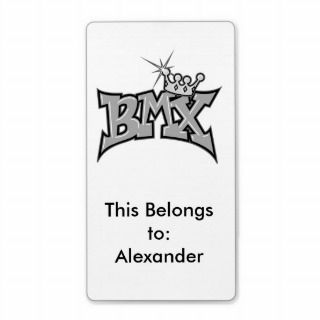 BMX king text design grayscale Personalized Shipping Label