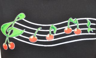 RM502   Rockabilly Cherry Kirschen Clef Noten Pin Up T Shirt Batcave