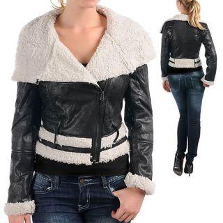 Plus 1X 2X 3X Women Faux Leather Fur Motorcycle Biker Jacket Coat