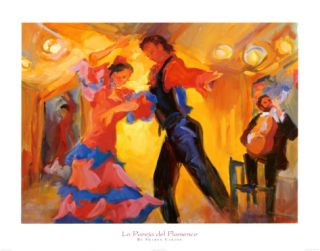 La Pareja del Flamenco Print by Sharon Carson