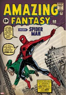 Marvel Comics Retro Amazing Fantasy Comic Book Cover #15, Introducing Spider Man (aged) Stretched Canvas Print