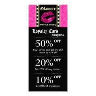 Makeup Artist Marketing Cards Lights Pink Lips Blk Custom Rack Card