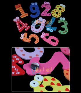 Cute Set of 10 Number Wooden Fridge Magnets Toy Small