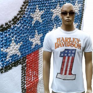 Official HARLEY DAVIDSON Strass USA Number One T Shirt S/M