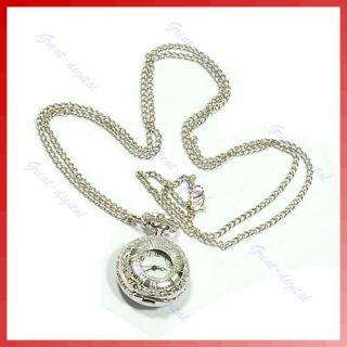 Antique Roma Number Quartz Pocket Watch Necklace Chain