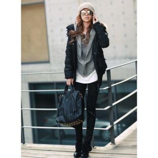 PU Leder Gold Rivet Black Tote Schultertasche Messenger Bag Handtasche