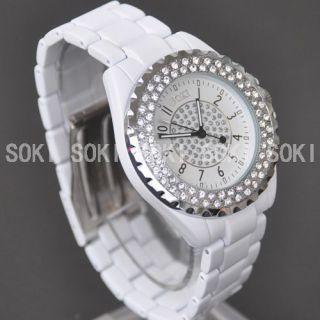 New SOKI White Crystal Glass Analog Quartz Lady Wrist Band Watch M89