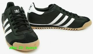 ADIDAS ROM Trainers Black White Leather Gum kick country UK10