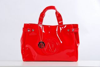 Handtasche shopper tasche lack ARMANI JEANS rot glaenzend sac femme