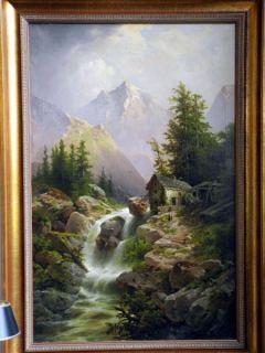 Gemälde Anton Pickert, Gebirgsbach m. Mühle, sign, Ö/L