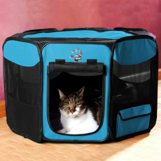 Pet Gear Travel Lite Octagon Soft Sided Pen   Blue