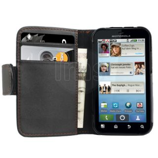 London Magic Store   AIO Black Wallet Leather Case For Motorola Defy