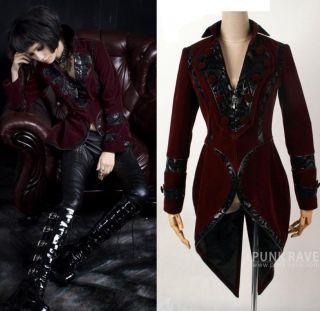 Gehrock Frack Jacke Kostüm Gothic Visual Kei Punk Rave Samt