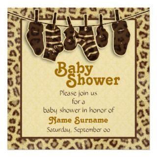 Jungle animal print baby shower personalized invite