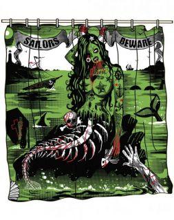 Too Fast Duschvorhang Sailors Beware TATTOO   Horrorpunk   Badezimmer