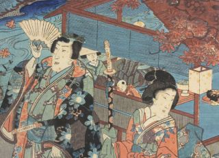 Originaler Farbholzschnitt Japan 18. Jh. Edo Tokio Geisha mit Samurai