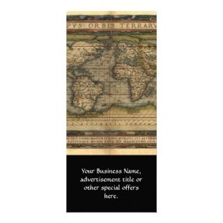 Vintage World Map Atlas Historical Design Customized Rack Card