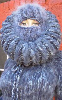 SUPER KID Mohair Langhaar Catsuit Overall Sweater XL XXL Fetisch blau