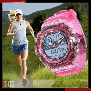 OHSEN Pink Alarm Chronograph Backlight Ladies Girls Digital Sport