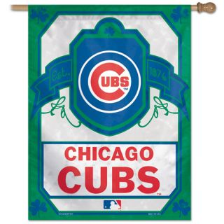 Cubs CUBS Logo MLB Green and White 27 x 37 Vertical Flag