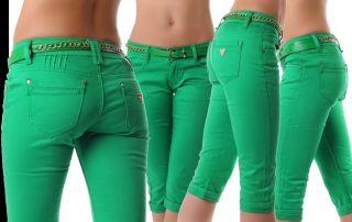 Neu Capri Damen Hose kurze Hosen Jeans Shorts 5 Farben bunt Gürtel 34