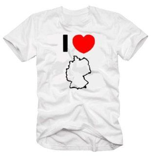 Coole Fun T Shirts I LOVE GERMANY FUSSBALL T SHIRT, WEISS