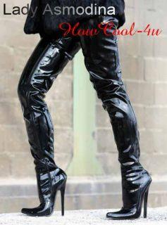 Black Lack Crotch Overknee Stiefel Boots 36 46 NEU 2955