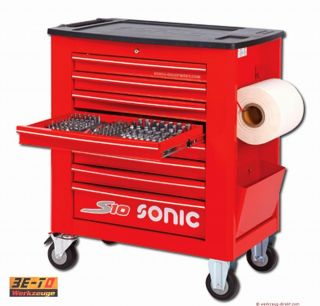 SONIC   Werkstattwagen S10 gefüllt   410 teilig  Farbe rot 741015