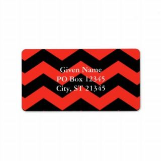 Red and Black Zig Zag Pattern Custom Address Label